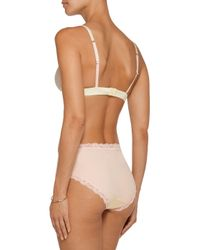 Mimi Holliday by Damaris - Multicolor Spin Lace-trimmed Satin Soft-cup Traingle Bra Pastel Yellow - Lyst