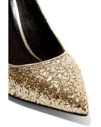 Saint Laurent - Metallic Glittered Leather Pumps - Lyst