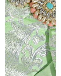 Vineet Bahl - Green Embellished Metallic Brocade Mini Dress - Lyst
