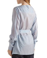 CALVIN KLEIN 205W39NYC - Blue Striped Satin-twill Top - Lyst