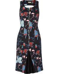 SUNO | Black Printed Scuba Dress | Lyst