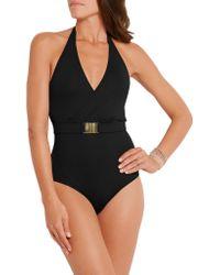 Melissa Odabash - Black Dominica Belted Halterneck Swimsuit - Lyst