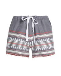 Lemlem - Gray Embroidered Cotton-blend Shorts - Lyst