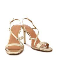 Halston Heritage - Metallic Leather Sandals Gold - Lyst