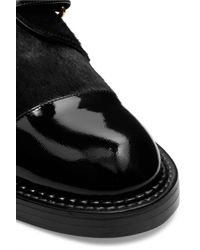 Marni - Black Calf Hair And Patent-leather Brogues - Lyst