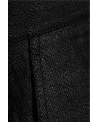 Tibi - Black Nori Glossed Linen-blend Midi Skirt - Lyst