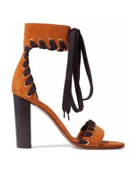 Chloé - Multicolor Whipstitch-effect Lace-up Suede Sandals - Lyst