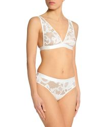 Mimi Holliday by Damaris - White Mid-rise Tulle Paneled Lace Briefs - Lyst