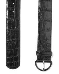Oscar de la Renta - Black Wide Alligator Waist Belt - Lyst