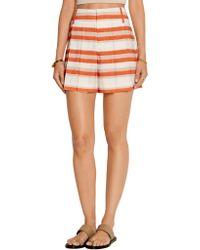 Alice + Olivia - Orange Flutter Striped Crepe De Chine Shorts - Lyst