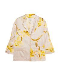 Carine Gilson - Yellow Floral-print Silk-satin Pajama Top - Lyst