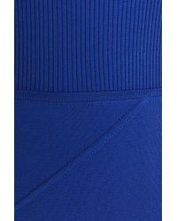 Antonio Berardi - Ribbed Knit-paneled Stretch-knit Dress Cobalt Blue - Lyst