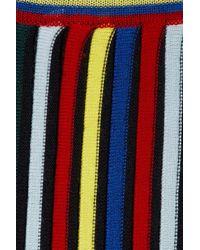Rosetta Getty - Multicolor Striped Ribbed Wool Midi Skirt - Lyst