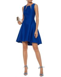 Halston Heritage - Blue Tulle-trimmed Cotton And Silk-blend Mini Dress - Lyst