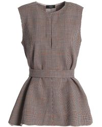Theory - Brown Checked Wool-blend Top - Lyst