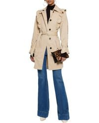 Joie Natural Gila Ruffle-trimmed Cotton-blend Twill Trench Coat Beige