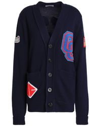 Opening Ceremony - Appliquéd Wool-blend Cardigan Midnight Blue - Lyst