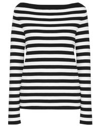 Michael Kors | Black Striped Cotton-jersey Top | Lyst