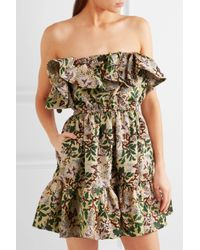 Philosophy Di Lorenzo Serafini - Green Off-the-shoulder Floral-jacquard Mini Dress - Lyst
