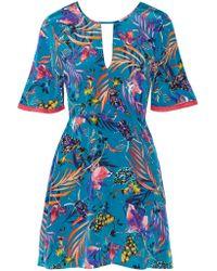 Matthew Williamson - Blue Crochet-trimmed Printed Silk Crepe De Chine Mini Dress - Lyst