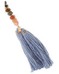 Chan Luu - Blue Gold-tone Tassel-trimmed Beaded Necklace - Lyst
