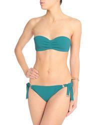 Calvin Klein - Blue Pleated Bandeau Bikini Top - Lyst