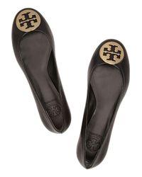 Tory Burch Black Reva Leather Ballet Flats