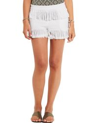 Prism - White Fringed Cotton-gauze Shorts - Lyst