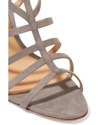 Schutz - Gray Loriana Cutout Suede Wedge Sandals - Lyst