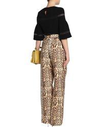 Adam Lippes - Multicolor Leopard-print Wool Wide-leg Pants Animal Print - Lyst