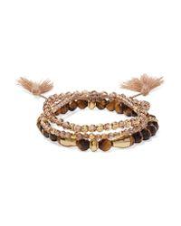 Chan Luu - Brown Set Of Three Beaded Bracelets - Lyst