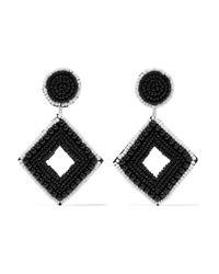 Kenneth Jay Lane - Black Beaded Silver-tone Earrings - Lyst