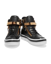 Giuseppe Zanotti - Black Embellished Leather High-top Sneakers - Lyst