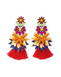 Elizabeth Cole - Woman 24-karat Gold-plated, Stone, Acrylic And Tassel Earrings Red - Lyst
