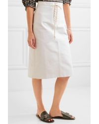 J.Crew - White Bondurant Lace-up Cotton-twill Skirt - Lyst