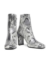 Stuart Weitzman - Gray Woman Snake-effect Leather Ankle Boots Animal Print - Lyst