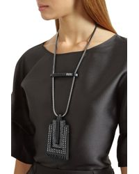Lanvin - Pewter-plated Blackened Swarovski Crystal Necklace - Lyst