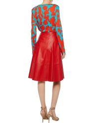 Diane von Furstenberg - Red Two-tone Printed Cotton Top - Lyst