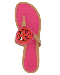 b77ed9db52002 Tory Burch Fringe-trimmed Leather Slides in Pink - Lyst