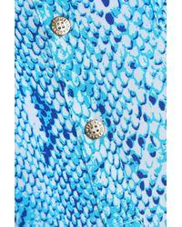 Melissa Odabash Blue Snake-print Voile Dress