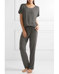 Eberjey - Black Toni Striped Stretch-jersey Pajama Top - Lyst