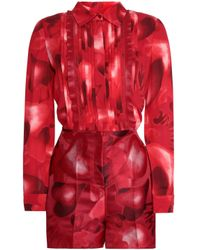 Valentino - Woman Point D'esprit-trimmed Printed Silk-crepe And Jacquard Playsuit Red - Lyst