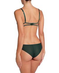 I.D Sarrieri - Woman Scalloped Lace And Tulle Mid-rise Briefs Dark Green - Lyst