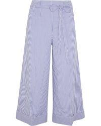 J.Crew - Blue Banada Striped Stretch-cotton Wide-leg Pants - Lyst