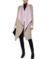 Vionnet | Multicolor Two-tone Draped Wool And Angora-blend Coat | Lyst