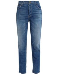 Current/Elliott - Blue The Slouchy Cropped Mid-rise Slim-leg Jeans - Lyst