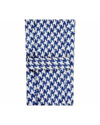 Rubinacci - Blue And White Large Houndstooth Pattern Silk Tie for Men - Lyst