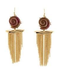 Alexis Bittar - Metallic Lucite Shell Tassel Earrings Gold - Lyst