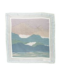 Lanvin - Blue Silk Abstract Scarf Multicolor - Lyst