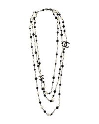 Chanel - Black Pearl & Bead Cc Multistrand Necklace - Lyst